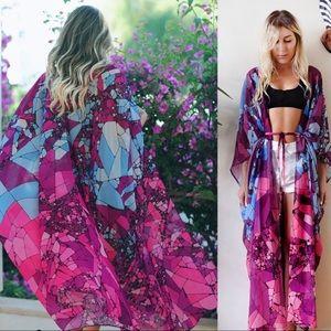 Purple Marble beach cover  Kimono Duster
